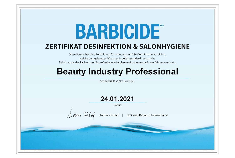 Zertifikat Desinfektion salon barbercide